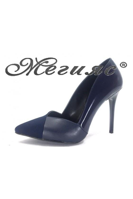 1821 Дамски обувки син лак с велур елегантни на ток