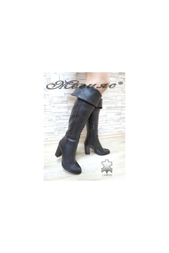 198 Lady long boots black leather