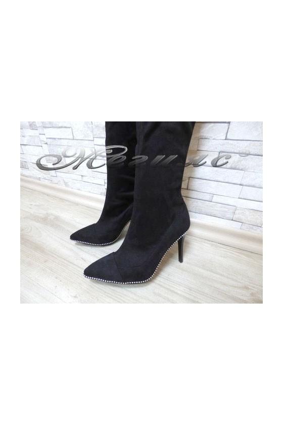 103 Lady elegant boots black  suede
