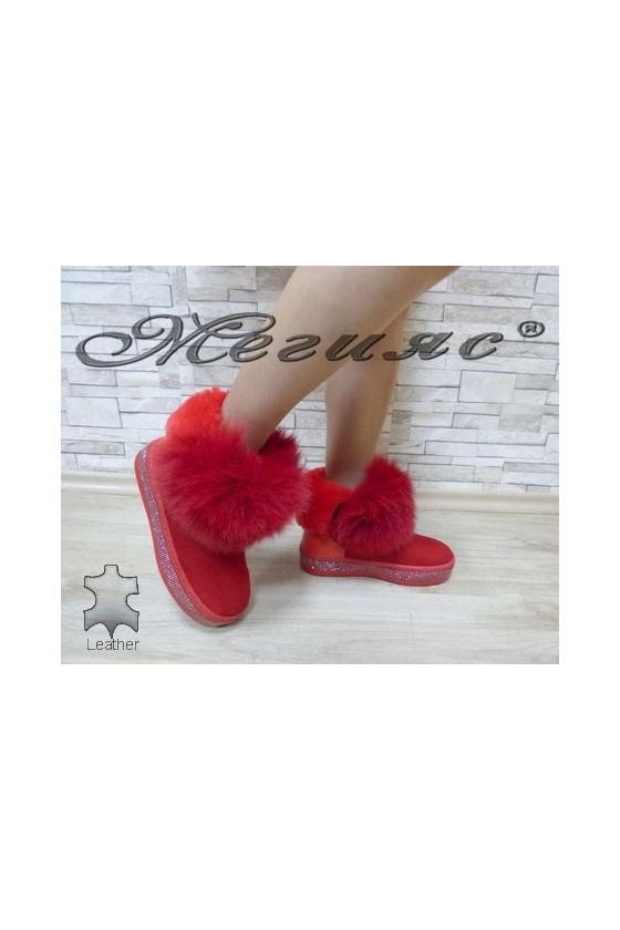 9042-78 Дамски боти червени от естествена кожа и естествен пух