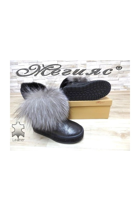 9042-82 Lady boots dark silver leather