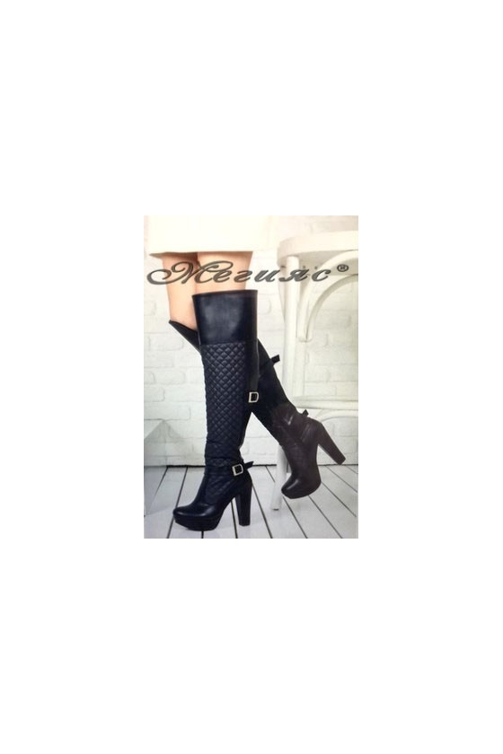 9915 Women long boots black pu