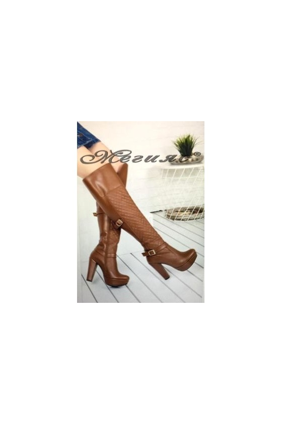 9915 Women long boots brown pu