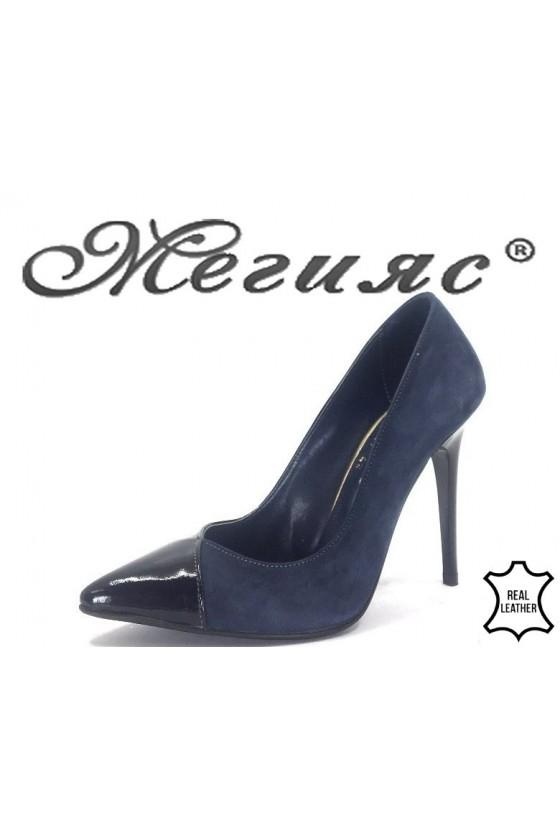 200-47-42 Дамски обувки син лак с велур елегантни от естествена кожа