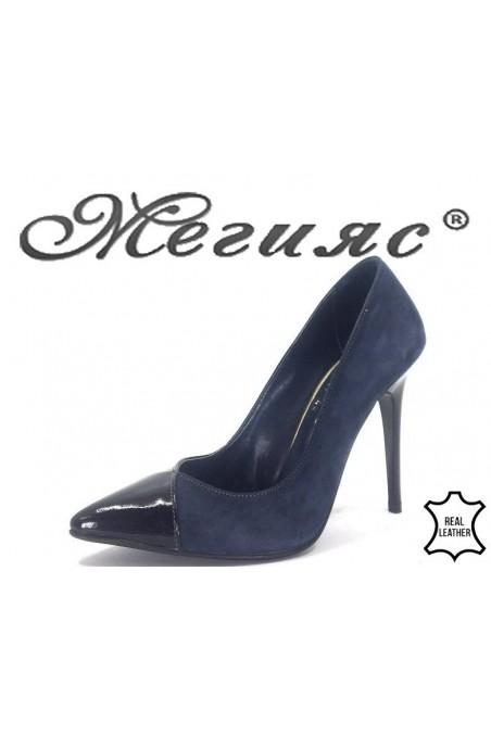 200-47-42 Дамски обувки сини комбинация естествен лак с велур