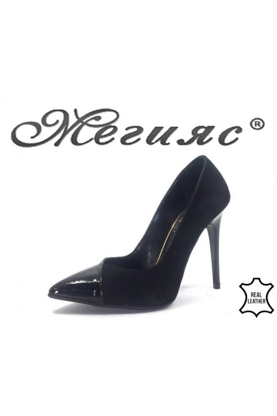 200-15-43 Дамски обувки черен лак с велур елегантни на ток