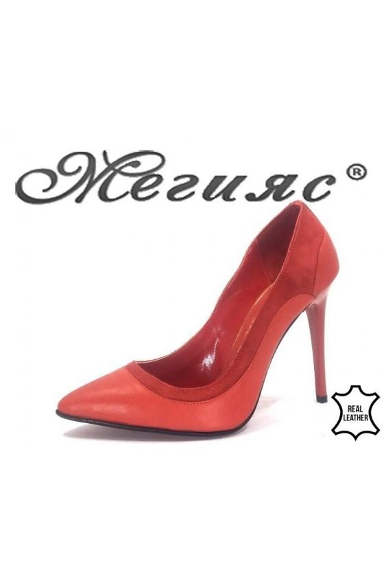 202-03-45 Дамски обувки червени елегантни от естествена кожа