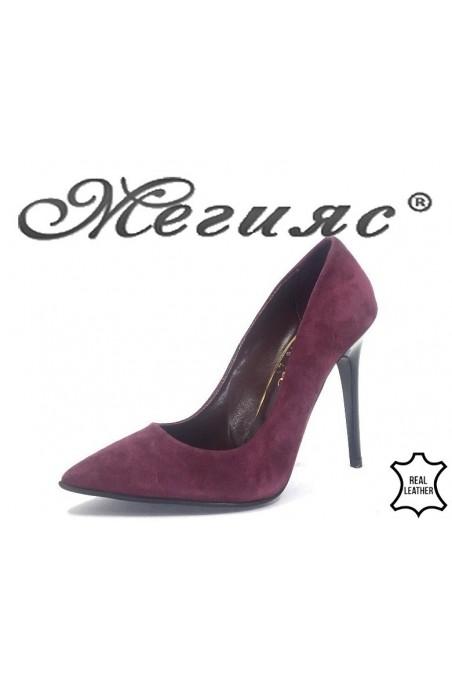 178-41 Дамски обувки бордо от естествен велур елегантни остри на тънък ток