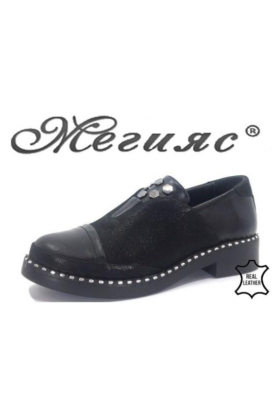 295-03-33 Дамски ежедневни обувки черни от естествена кожа