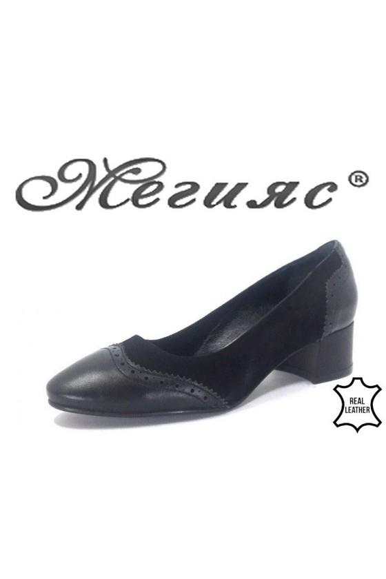 17-61 Дамски обувки черeн велур с кожа