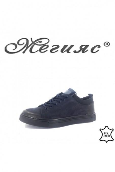 19600 Мъжки спортни обувки сини от естествен набук