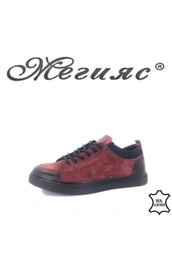 19600 Мъжки спортни обувки бордо от естествен набук