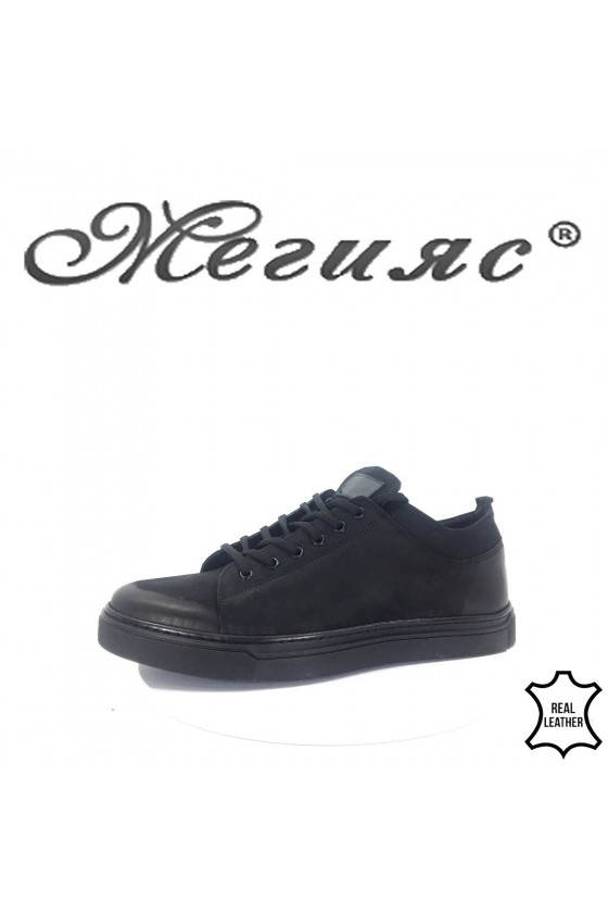 19600 Мъжки спортни обувки черни от естествен набук