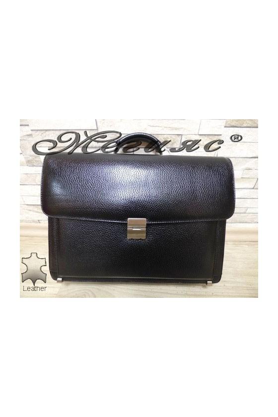 217-011 Бизнес чанта черна от естествена кожа