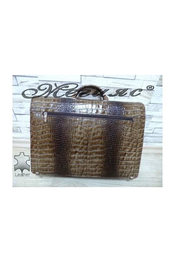 217-011 Бизнес чанта каки от естествена кожа