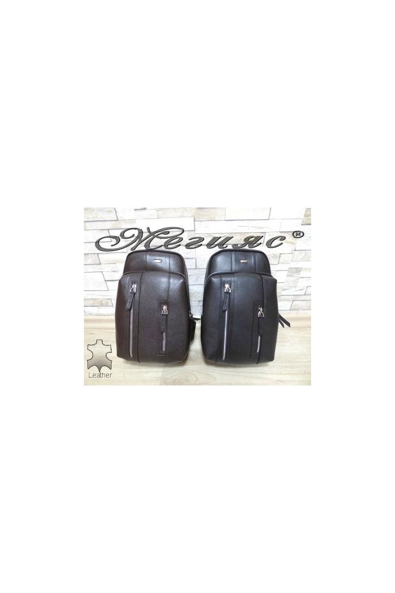 6005 Мъжка чанта тип раница кафява от естествена кожа
