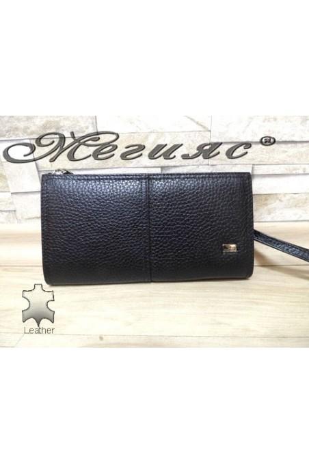 307 Малка ръчна чанта черна от естествена кожа
