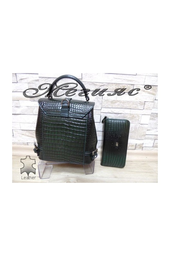 573-09 Bag green leather