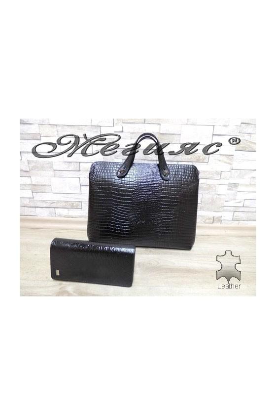 2939 Дамска чанта черна с портмоне 321 от естествена кожа