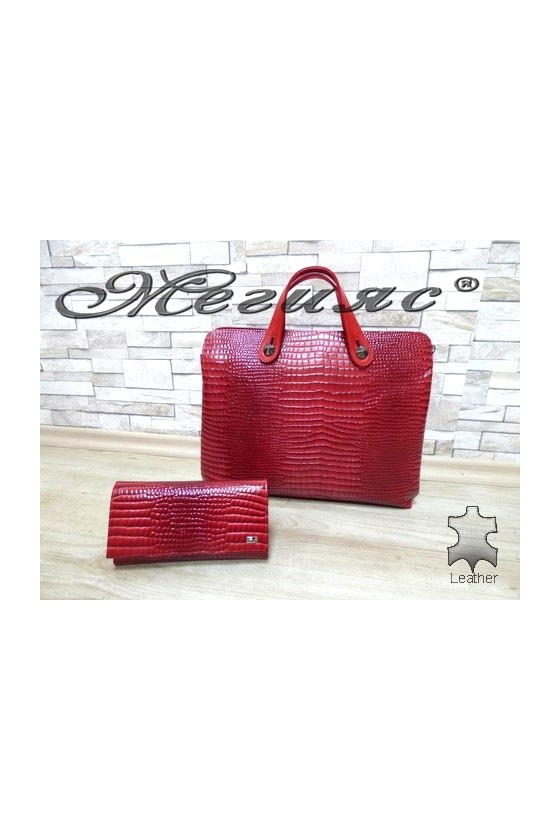 2939 Дамска чанта червена с портмоне 057 от естествена кожа
