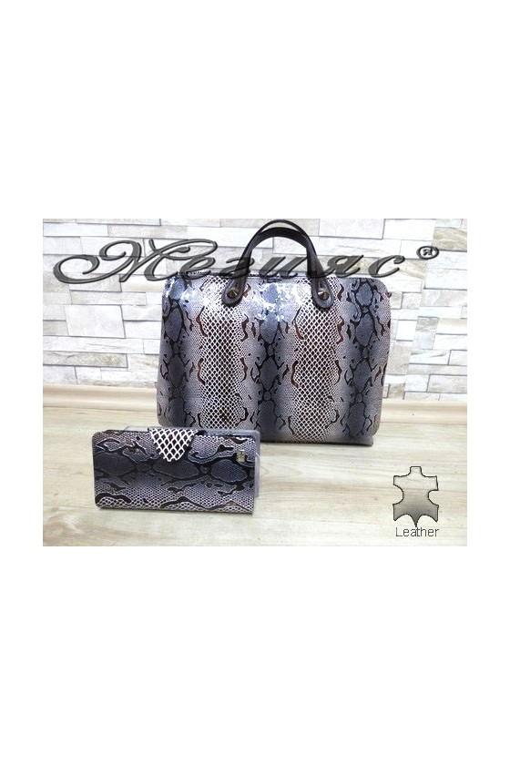 2939 Дамска чанта змия с портмоне 225 от естествена кожа