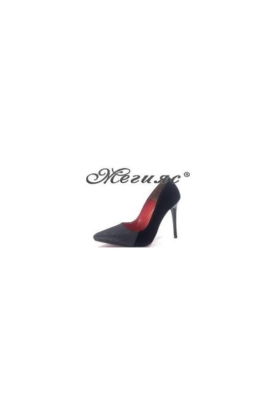 464 Дамски обувки черен велур със черен брокат елегантни на ток