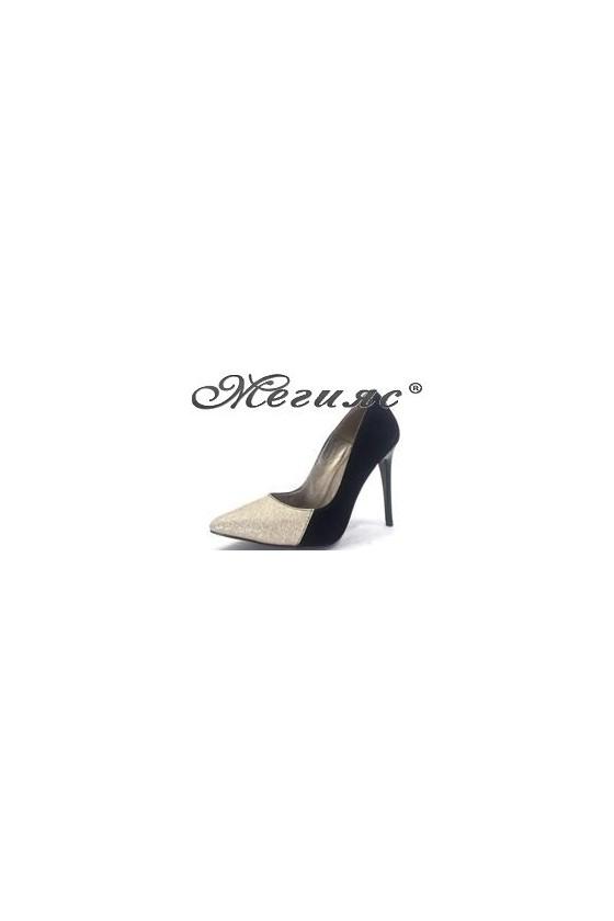 464 Дамски обувки черен велур със златен брокат елегантни на ток