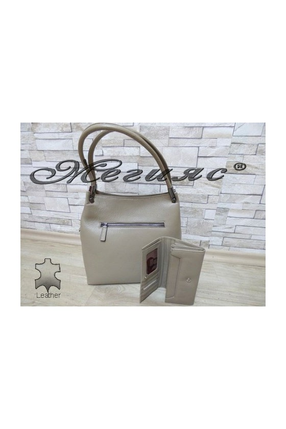 2945 Bag beige leather with purse 057
