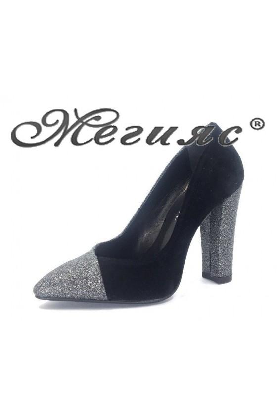 2025 Дамски обувки черен велур елегантни на висок ток