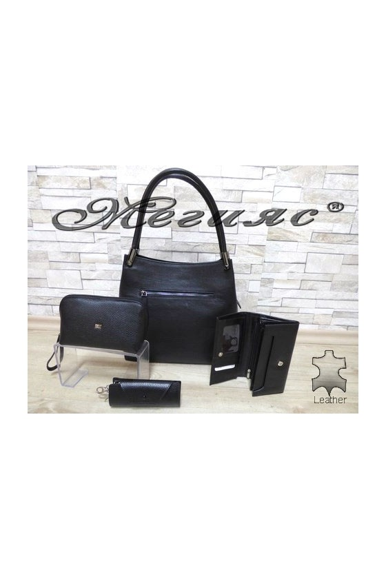 2945 Bag black leather with purse 064/065