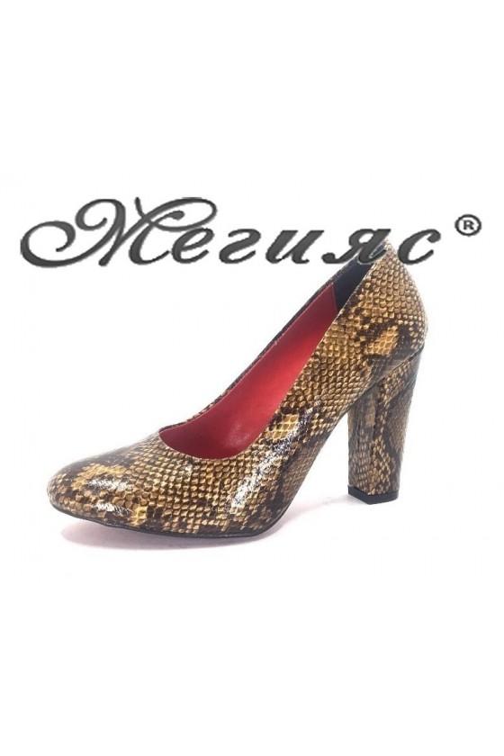 78 Дамски обувки кафявя кожа елегантни на висок ток