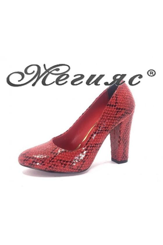 78 Дамски обувки червена кожа елегантни на висок ток