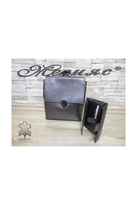 7141 Lady bag dark grey leather with purse 726