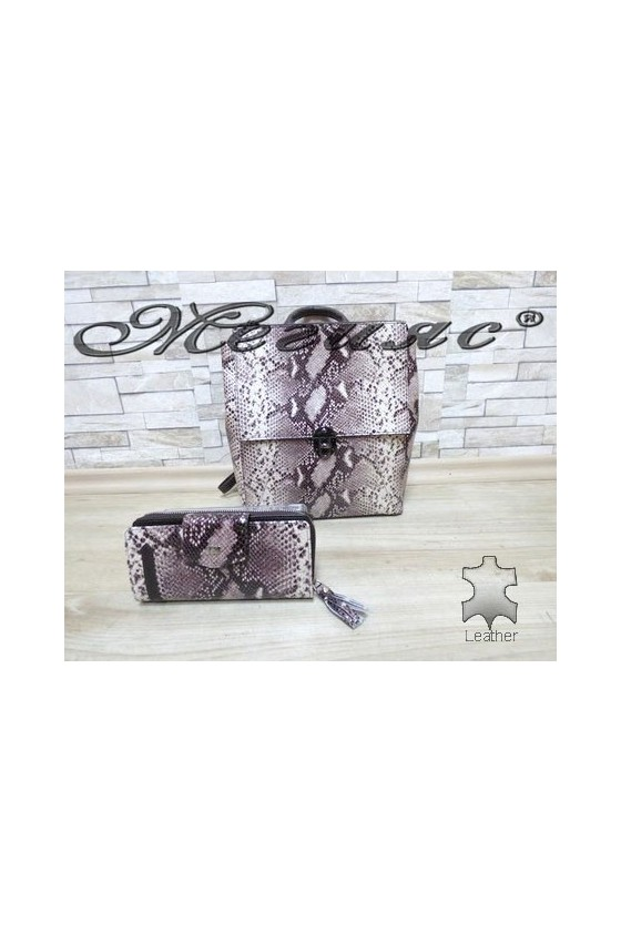 7141 Lady bag beige leather with purse 731
