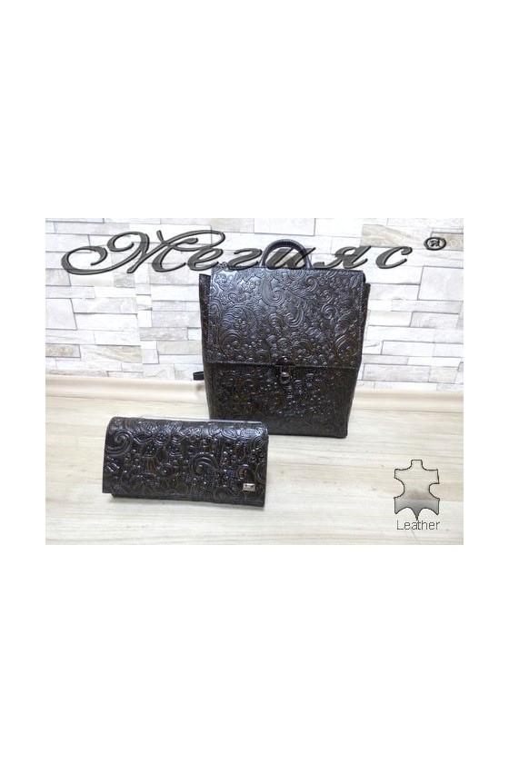 7141 Дамска чанта от естествена кожа тъмно кафява с портмоне 057