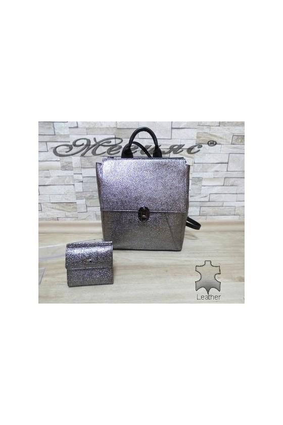 7141 Lady bag dark grey leather with purse 067