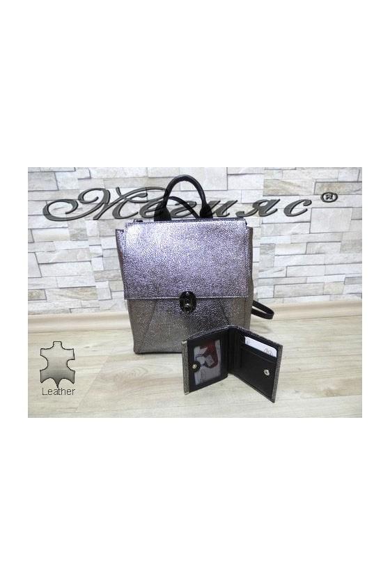 7141 Дамска чанта от естествена кожа графит с портмоне 067