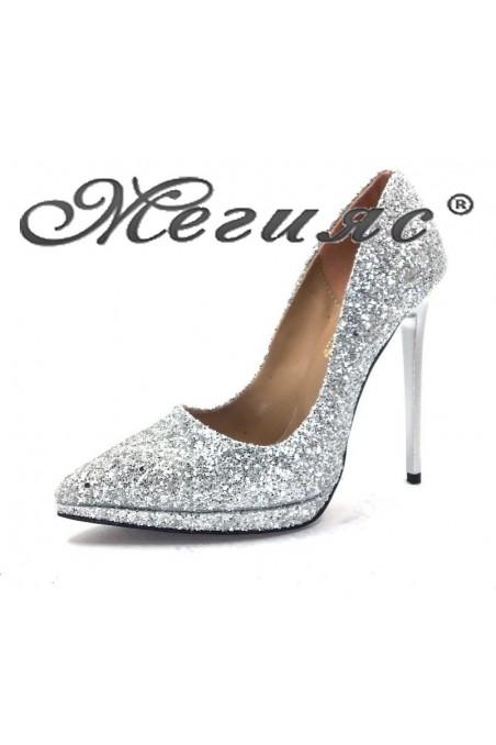 00500 Дамски обувки сребрист брокат елегантни на висок ток