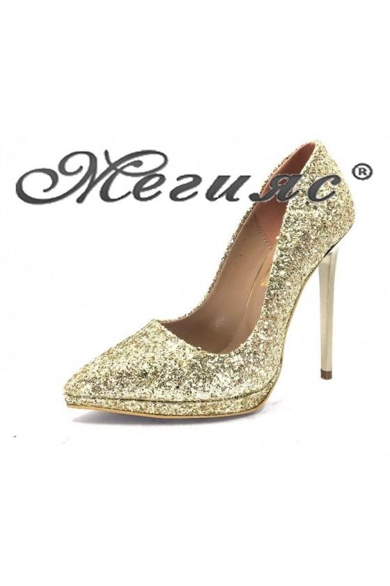 00500 Дамски обувки златист брокат елегантни на висок ток