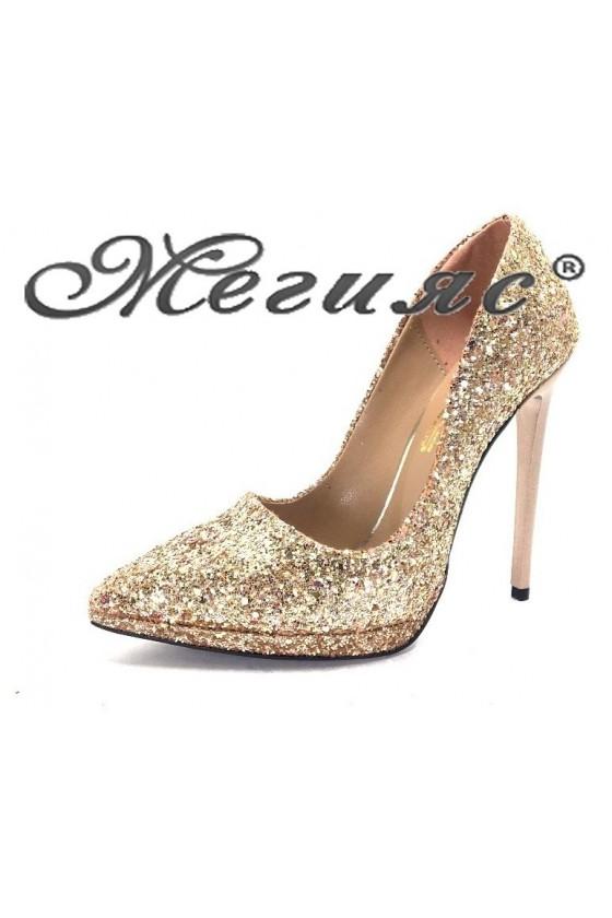 00500 Дамски обувки бакър брокат елегантни на висок ток
