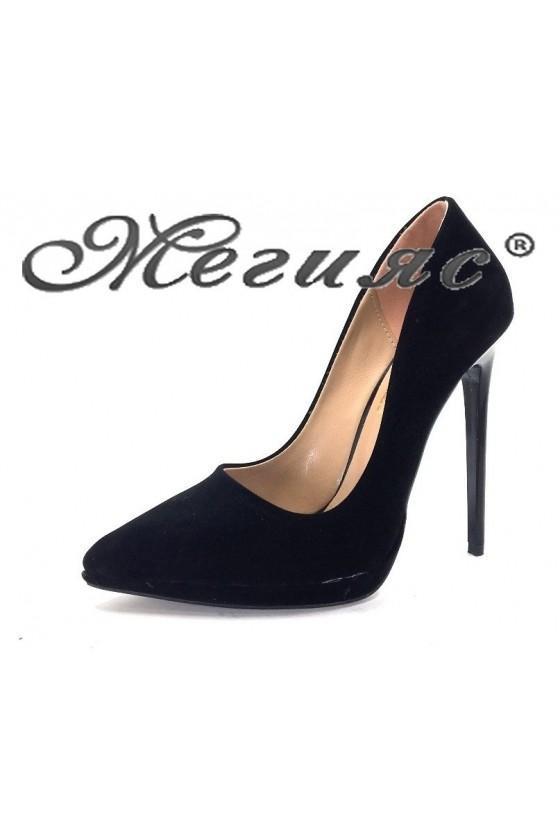 00500 Дамски обувки черен велур елегантни на висок ток