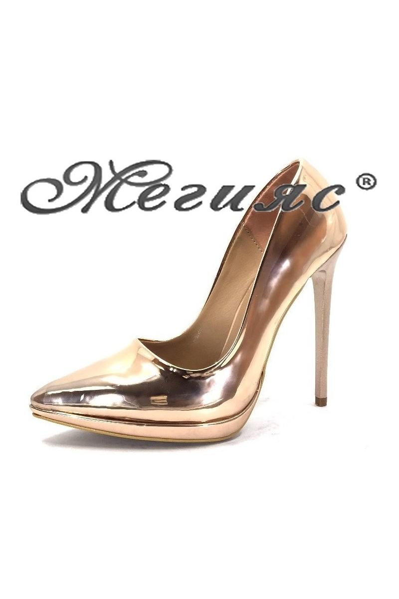 00500 Дамски обувки бакър лак елегантни на висок ток