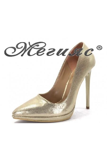 00500 Дамски обувки  златисти текстил  елегантни на висок ток