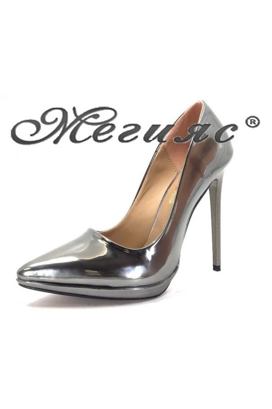 00500 Дамски обувки графит лак елегантни на висок ток