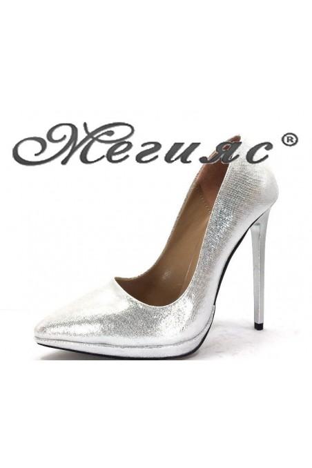 00500 Дамски обувки сив текстил елегантни на висок ток