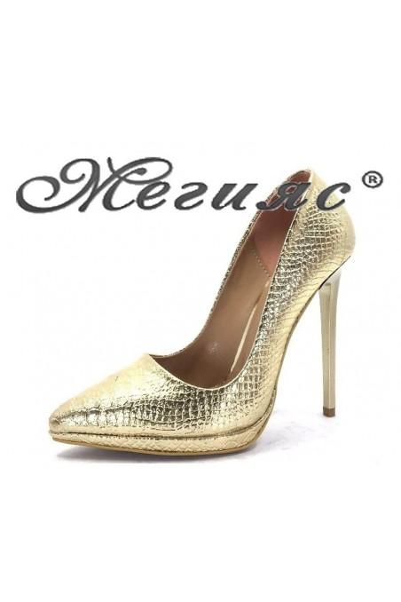00500 Дамски обувки златни от еко кожа елегантни на висок ток