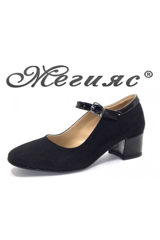 5676 Women elegant shoes black sued