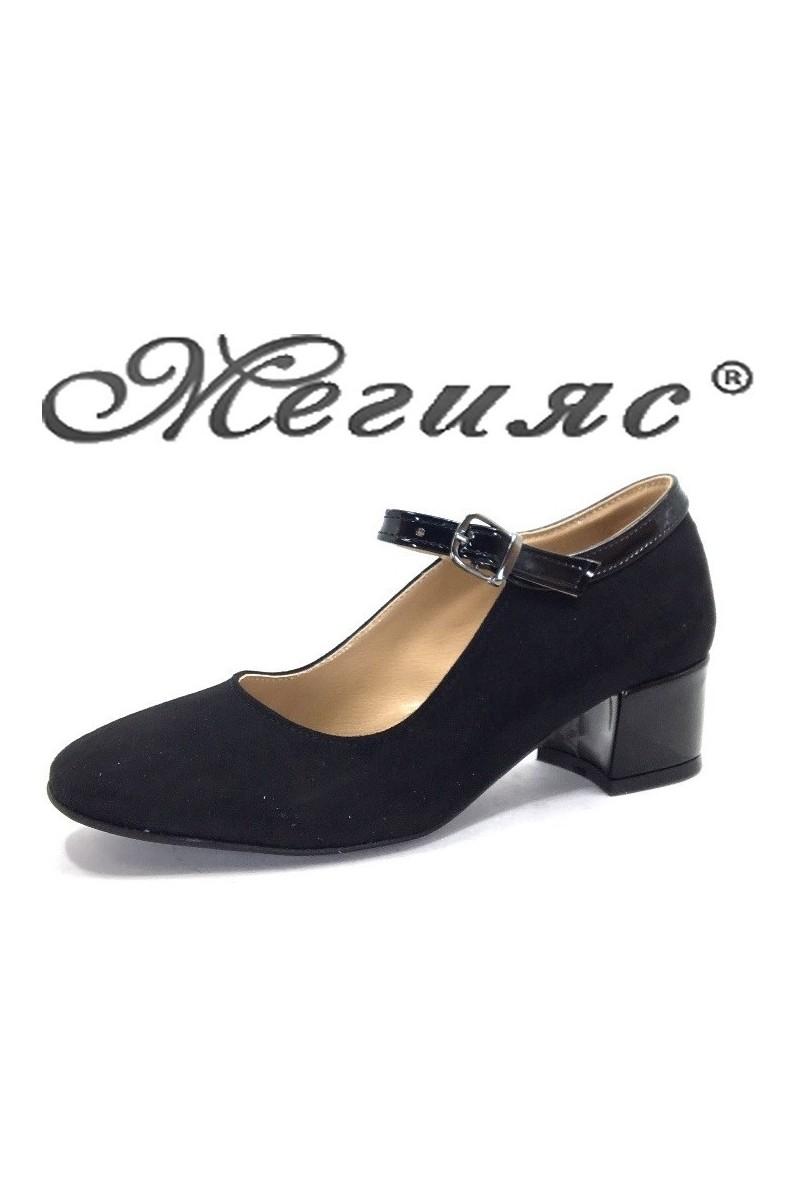 5676 Дамски обувки черен велур с лак елегантни на нисък ток
