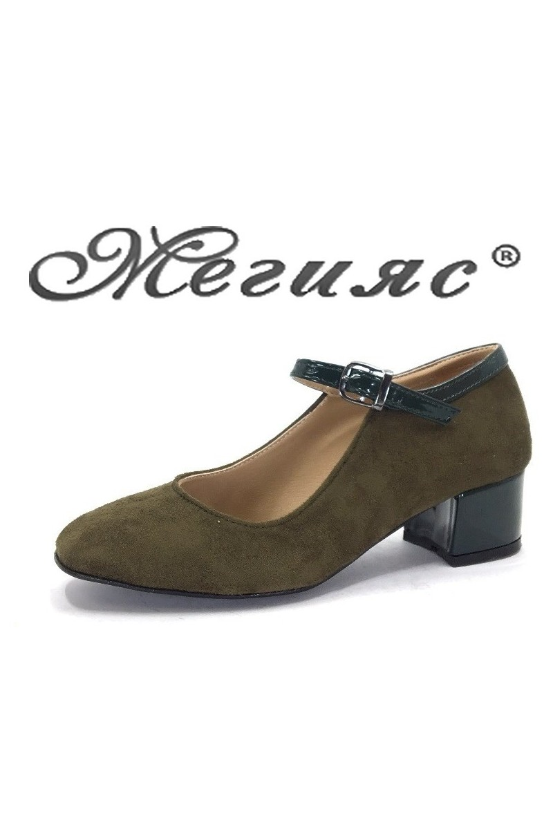 5676 Дамски обувки зелен велур с лак елегантни на нисък ток