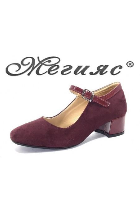 5676 Дамски обувки бордо велур с лак елегантни на нисък ток